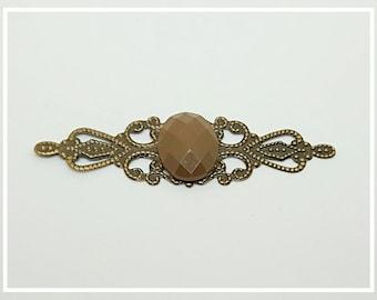 Engraving filigree bronze Brown cabochon