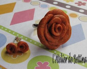 Orange flowers earrings and ring set