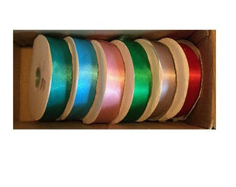 double-sided - 38mm wide x 6 colors - satin ribbon