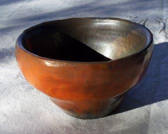 Collection sigilea Earth orange and black raku Bowl, engraved chawan raku bowl