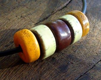 Raku, donut, ecru pearls raku necklace orange brown ceramic jewelry beaded necklace