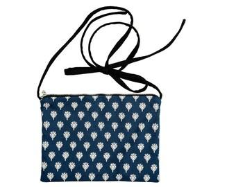 Provence fabric FANNY pouch blue white & Black denim canvas