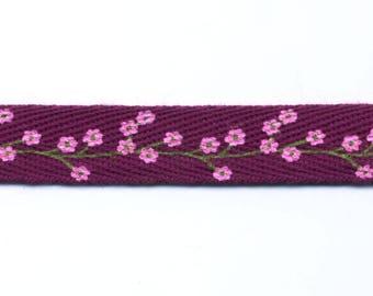 Fancy purple plum flowers with twill tape