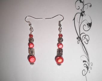 00520 - Red magic and earrings silver