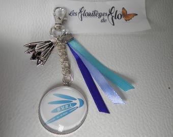 02132 - Bag charm / Keychain badminton blue tone