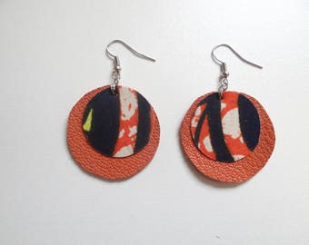 Blue and orange leather earrings