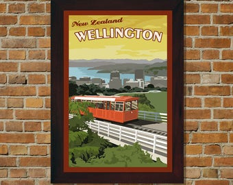 Wellington New Zealand - Vintage Travel Poster