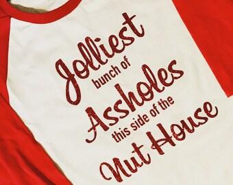 Jolliest Bunch Christmas Raglan Shirt