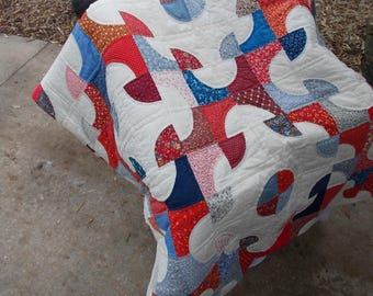 Vintage 1980s Red, White, and Blue Drunkard's Path Reversible Handstitched Quilt/ from Rhode Island