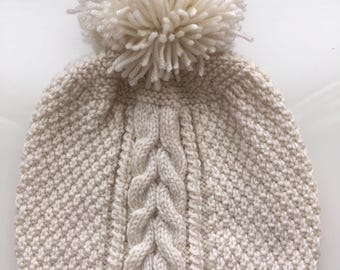 Handmade cream cable knit pompom hat