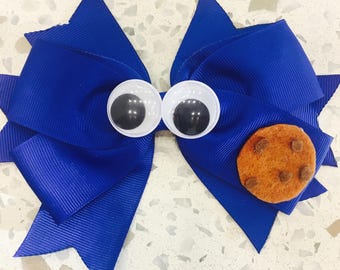 Cookie Monster Clip- Cookie Monster Bow - Sesame Street Bow - Blue Hair Bow - Cookie Monster Party
