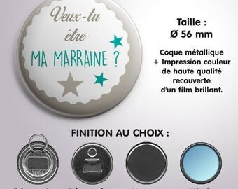 """Mirror, bottle opener or Magnet """"Will you be my godmother?"""" - Color Turquoise"""