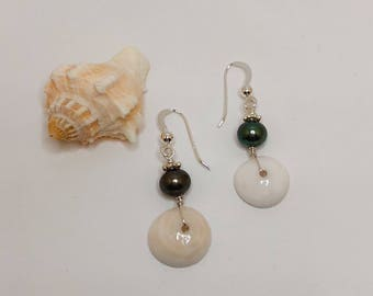 Puka Shell Pearl Dangled Earring