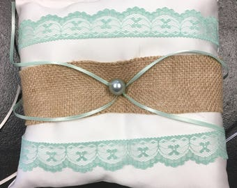 Teal Blue Aqua Rustic Ring Pillow - Recycled Fabric