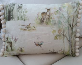 Handmade Voyage Enchanted Forest Pom Pom Cushion Cover