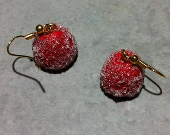 Sweet Strawberry earrings, polymer clay