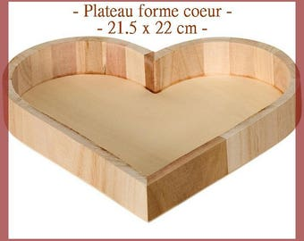 Small wooden tray 21.5 x 22 cm, blank, heart shaped new