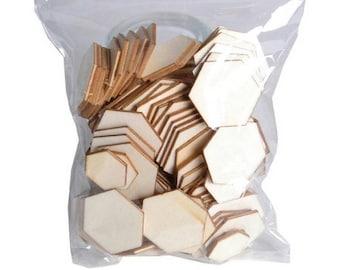 Set of 129 hexagons pcs blank wood! -Artemio.