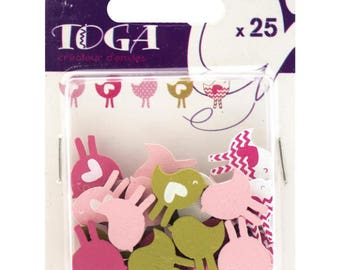 Craft - bird assortment Toga - 25 pieces of 1.8 cm wooden painted, new