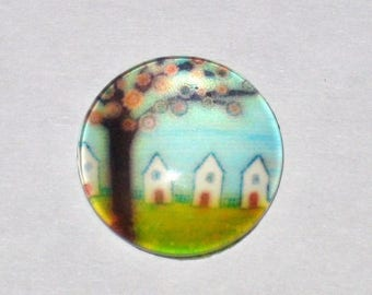"""""""Tree"""" in size 15mm glass cabochon"""