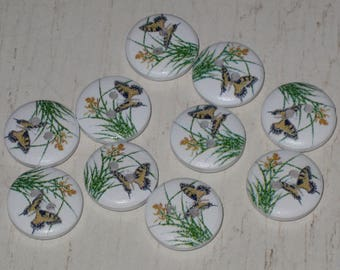 """Set of 10 wooden buttons round colorful """"butterflies"""""""