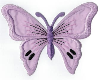 Purple Butterfly embroidered iron or sew patch. Applique Patch 13 x 9.5 cm