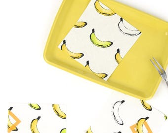 Banana ring 100% Cotton Fabric / BY HALF YARD / Food / fruit / yellow bananas / digital print / free shipping DTP2/145+