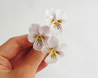 Lilac Pansy, Pansy, flower with wire, stem flower, handmade flower, clay flower, pansy flower, flower supply