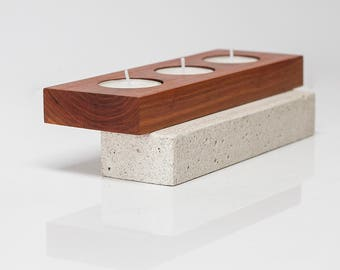 Wood and concrete candleholder