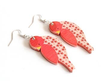 Earrings bird Orange wood