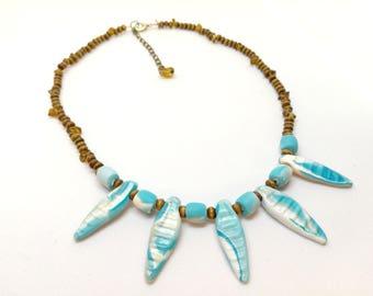 Boho Fimo necklace, blue, handmade, necklace