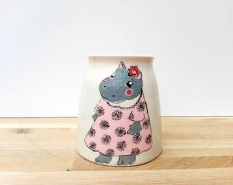 Vase made earthenware authentic hippopotamus, ceramic, hand craft, handmade ceramic