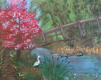 Hidden Bridge  Original Acrylic painting on stretched canvas.