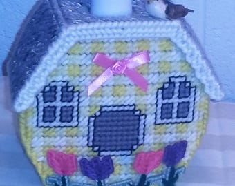 Soap Dispenser - Yellow Bird House w Tulip Pink Bow (Soap Included)
