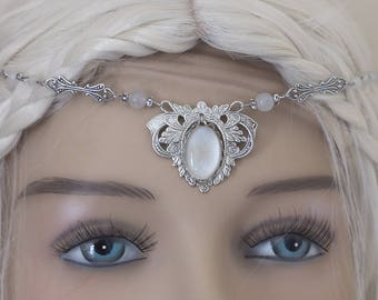 """Tiara """"White Elf"""" in Jasper prints in brass Silver Filled (Sterling/Sterling) and then aged & weathered with anti-tarnish treatment"""