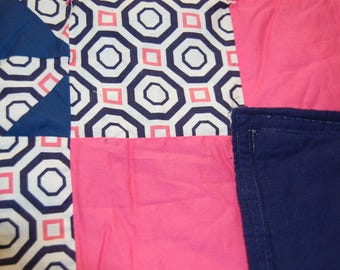 Coral, Ivory and Navy Blue baby quilt