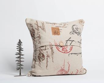16 x 16 pillow cover, throw pillow, envelope pillow, pillow with button, toss cushion, vintage, romantic