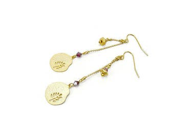Earrings thin minimalist red swarovski crystal and gold-plated