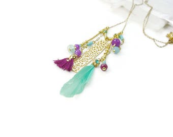 Gold plated long boho chic necklace in mint green purple and mauve on fine chain