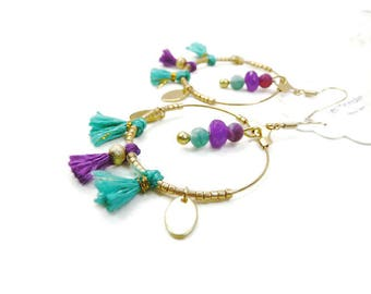 Earrings hoops boho chic purple and Mint green fantasy