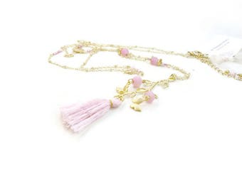 Necklace pink light romantic boho-chic on gold chain
