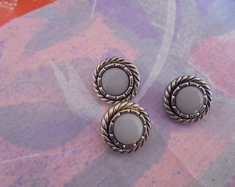 Set of 9 buttons Vintage silver metal and resin violette15 mm