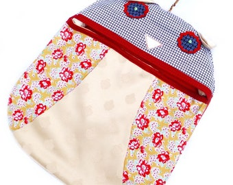 Ladybird peg bag, made from brightly coloured upcycled and vintage fabrics