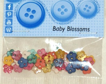"""Assortment of 30 buttons - """"Baby blossoms"""" - fancy flowers."""