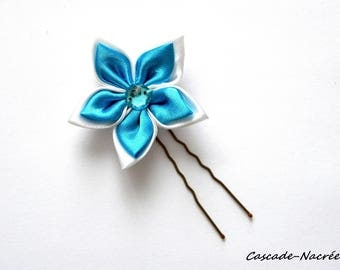 turquoise white Jewelry Silver Pearl bridal satin wedding flower hair stick