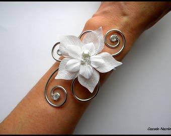 aluminium white Crystal plum aluminium bead wedding silk flower bridal bracelet