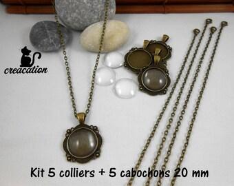 Kit 5 necklaces 5 cabochons 20mm, antique bronze