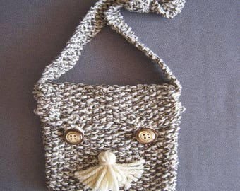 Small brown ecru marl shoulder bag