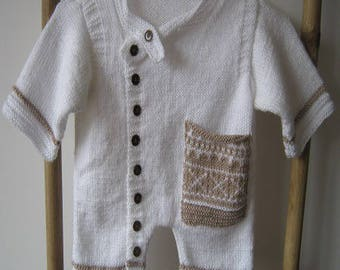 White baby slip with jacquard Pocket
