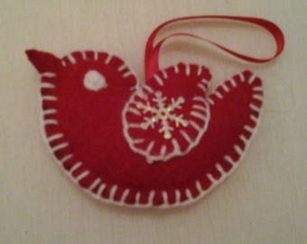 bird in red felt lined with white